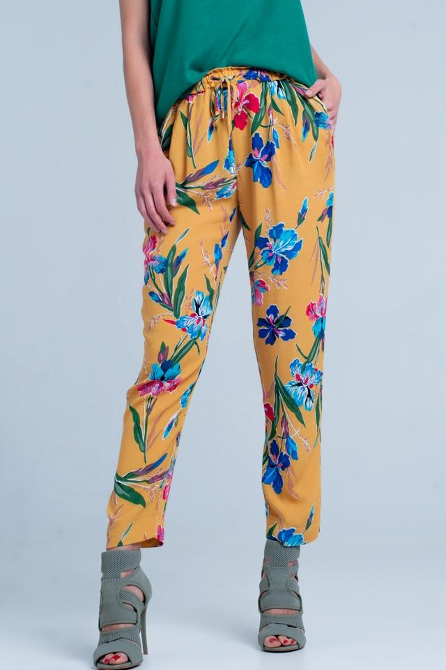 Pantaloni senape a fiori