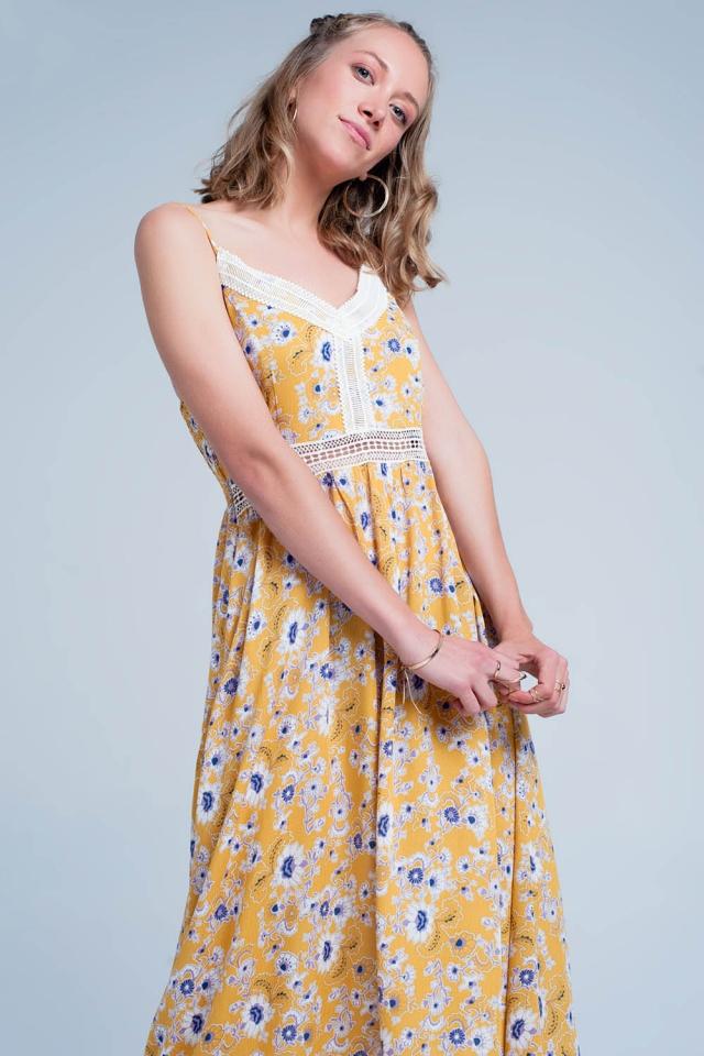 Vestito lungo Giallo a fiori con spalline sottili