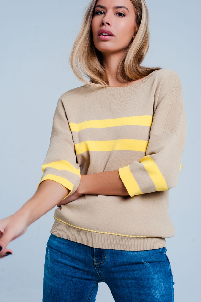 Maglione beige con profili a contrasto