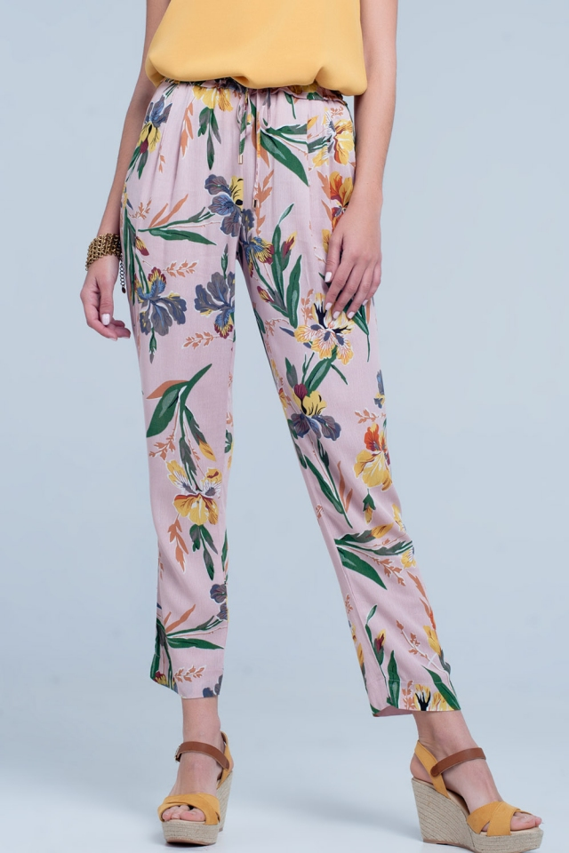 Pantaloni rosa a fiori
