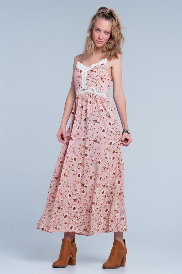 Vestito lungo rosa a fiori con spalline sottili