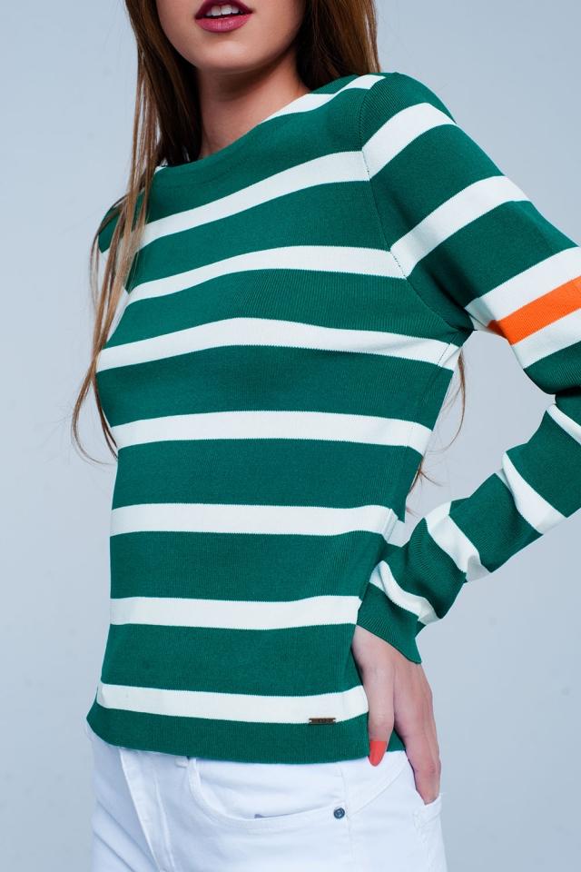 Maglione verde colour block a righe breton