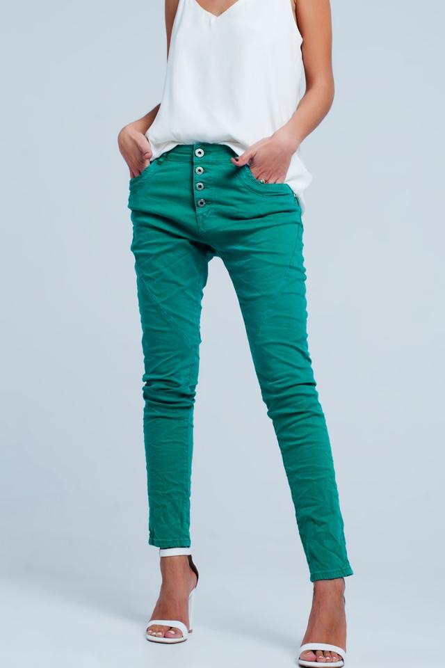 boyfriend Jeans originale colore Verde