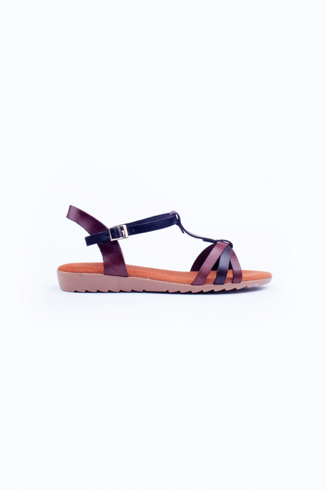 Brown chunky flat sandals