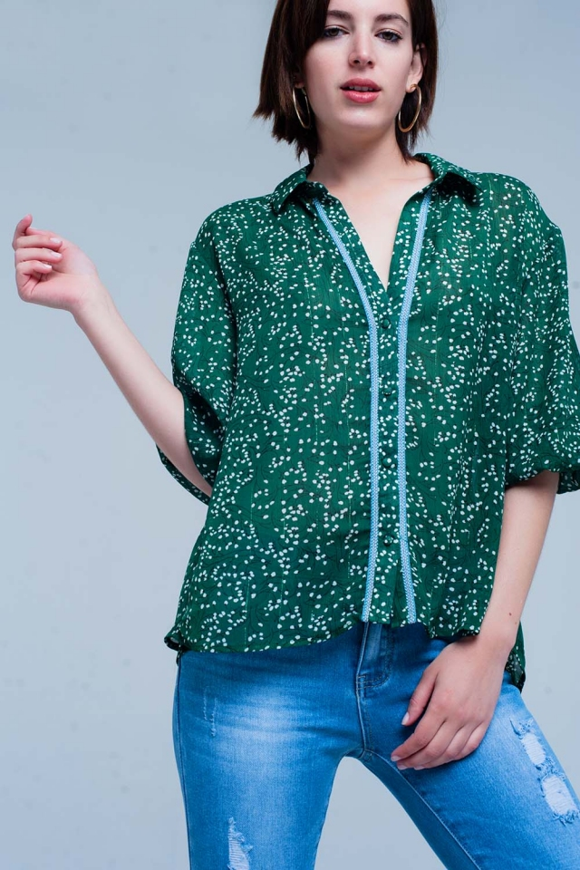 Green Floral Button Front Blouse