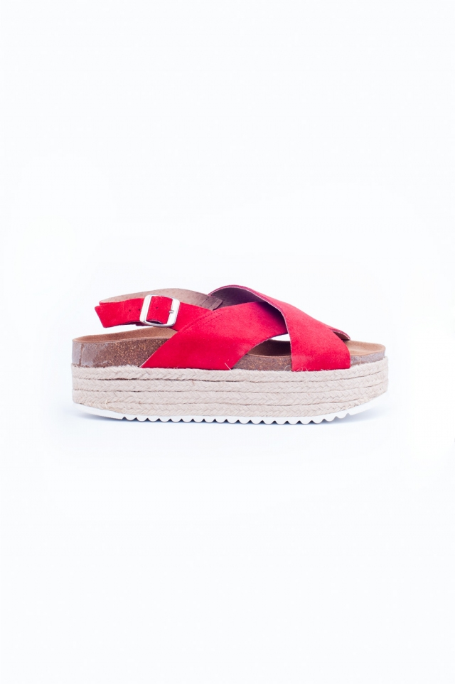 Pink cross strap espadrille sandals