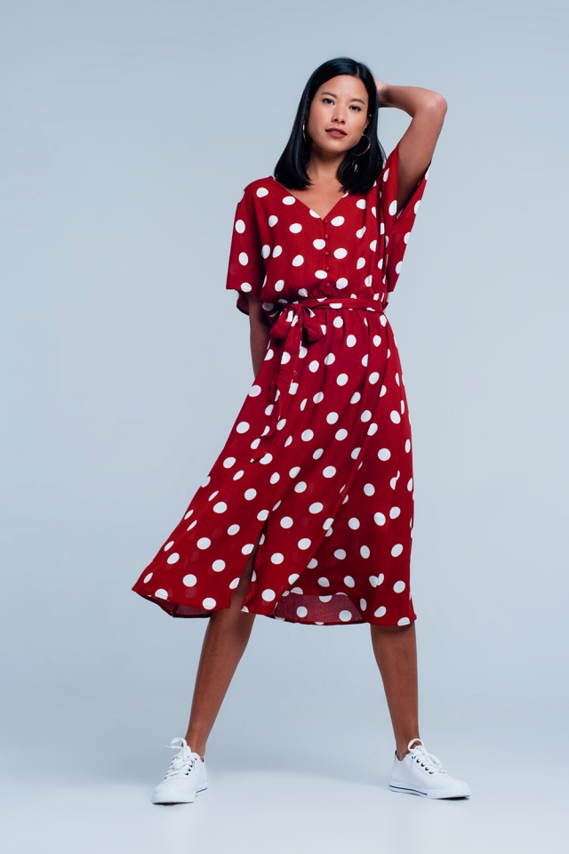 Red dress with polka dots