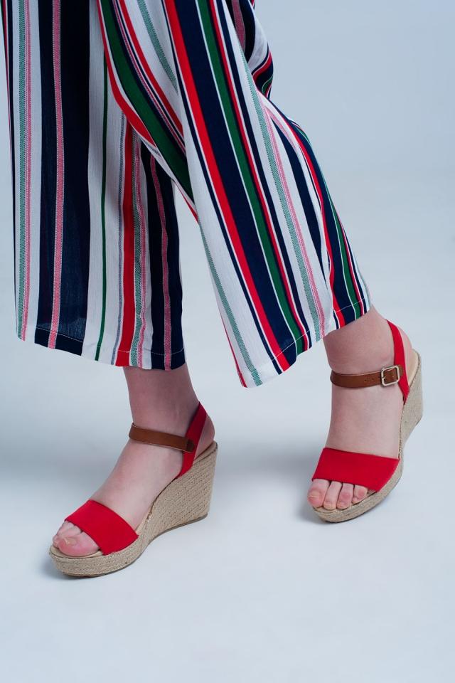 Sandali espadrilles rossi con fibbia
