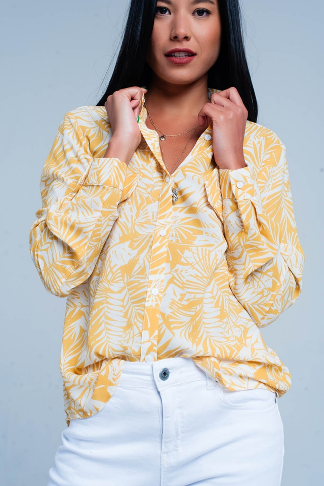 Floral blouse in yellow