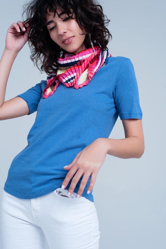 T-shirt Blu con scollo a V