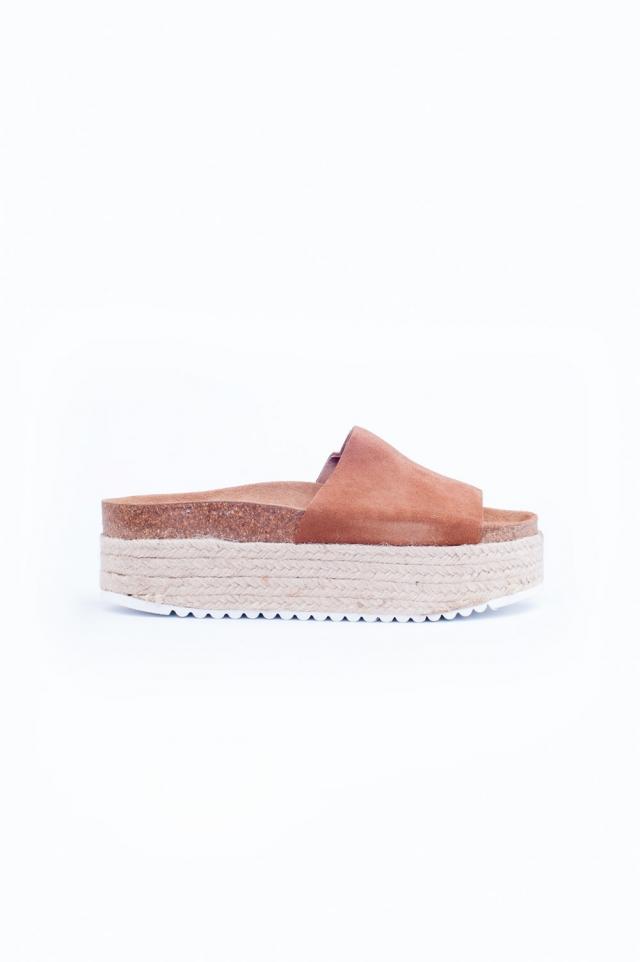 Brown Espadrille Flatform Sandals