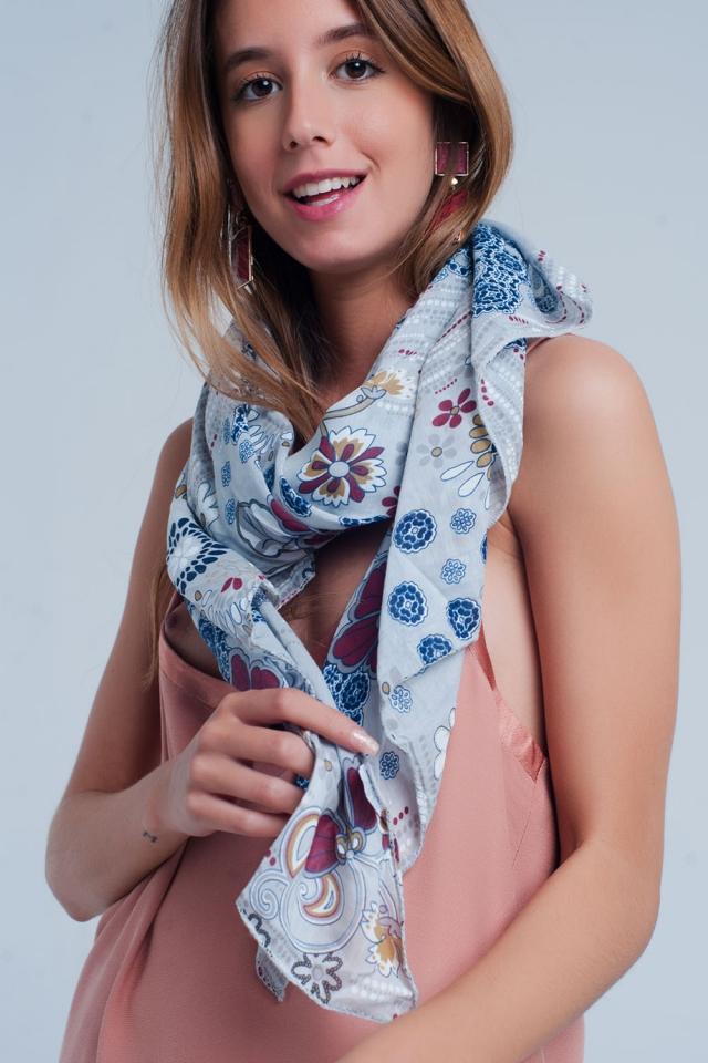 Grigio sciarpa con stampa floreale