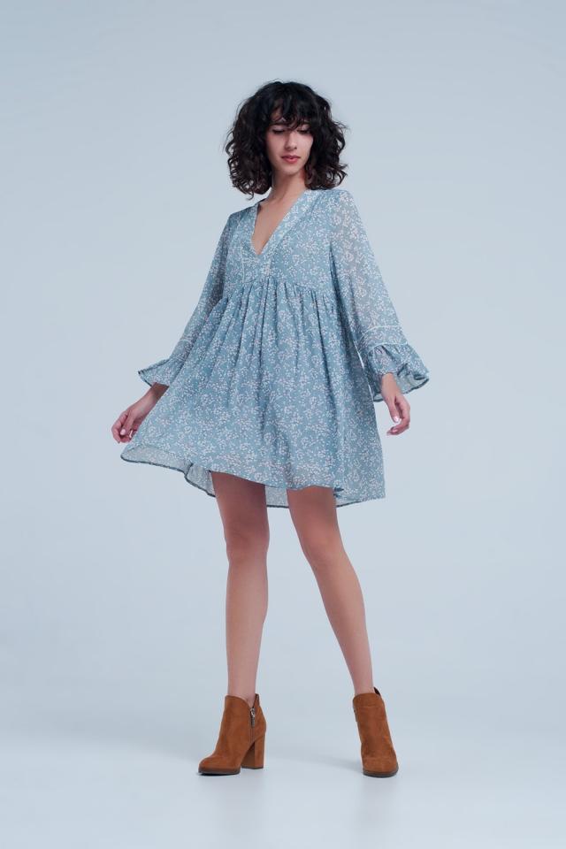 Blue dress with flower print