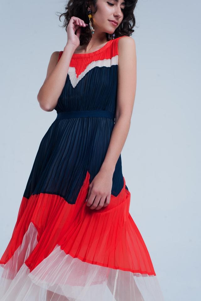 Vestito midi Blu navy a pieghe con panelli a contrasto