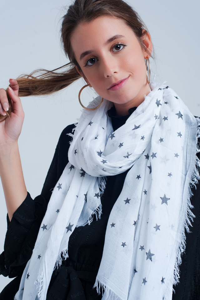 White scarf with stars print