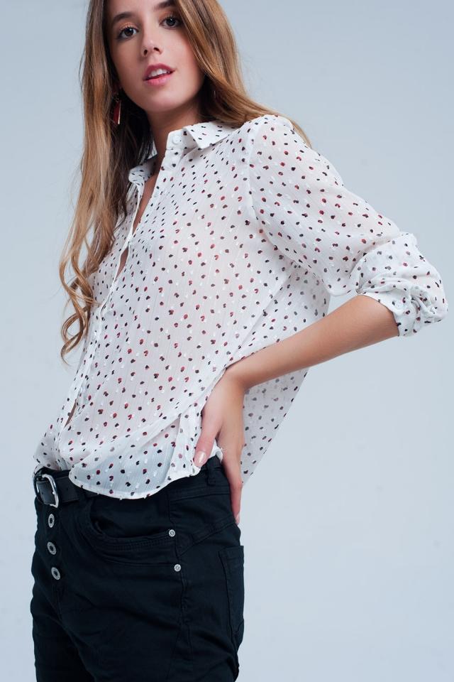 Camicia vestibilità classica bianca trasparente con stampa a pois