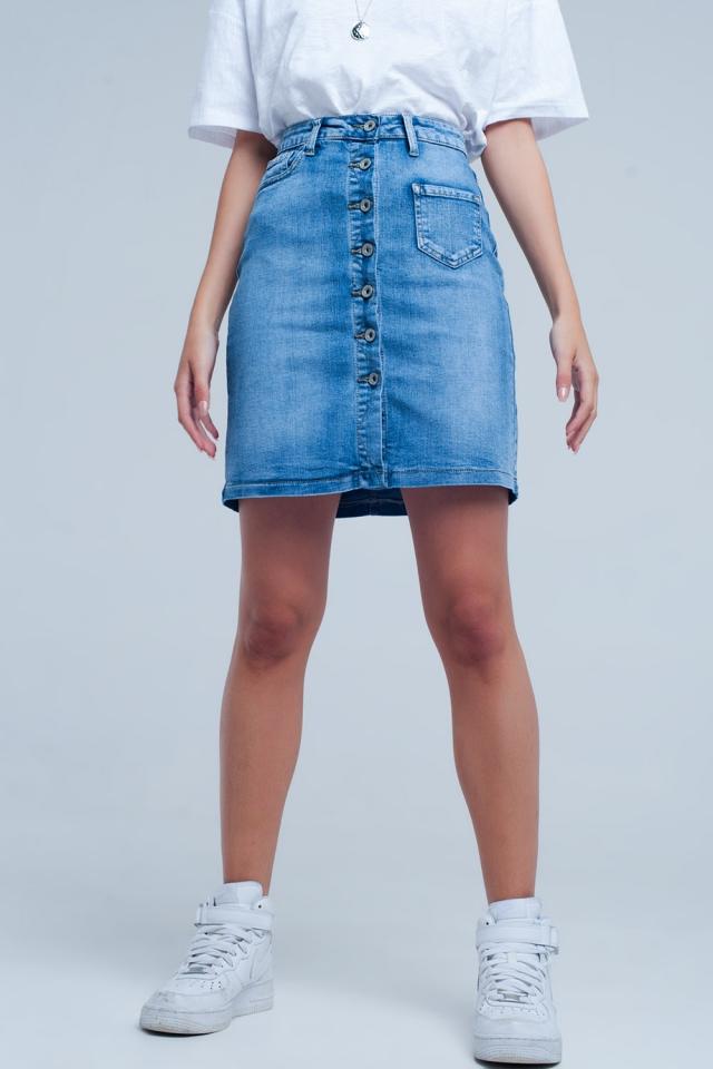 Minigonna di jeans blu con bottoni