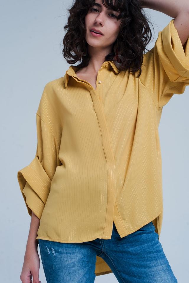 Camicia oversize gialla con dettagli in lurex