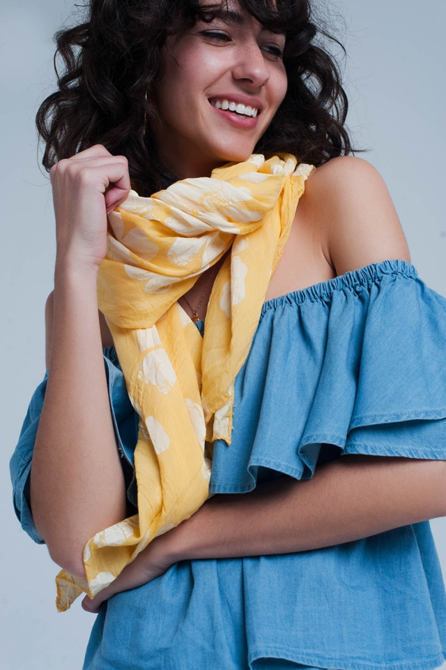 Sciarpa giallo con stampa floreale
