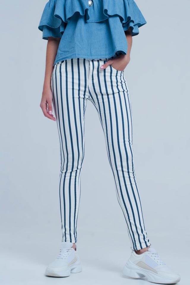 Jeans skinny a righe bianco e blu scuro