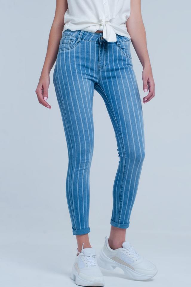 Jeans aderenti in denim leggero a righe chiare