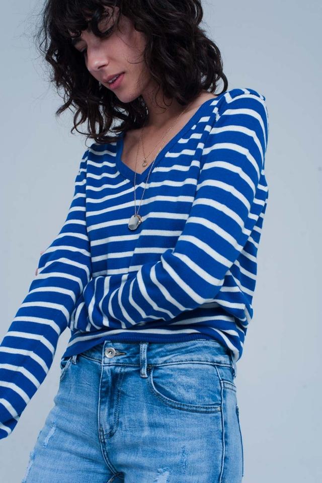 Maglione leggero a righe blu