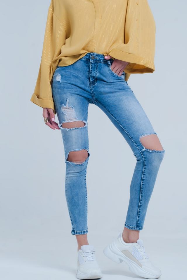 Jeans skinny invecchiati denim leggero