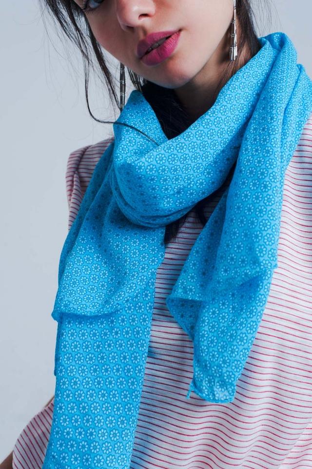 Sciarpa stampata blu