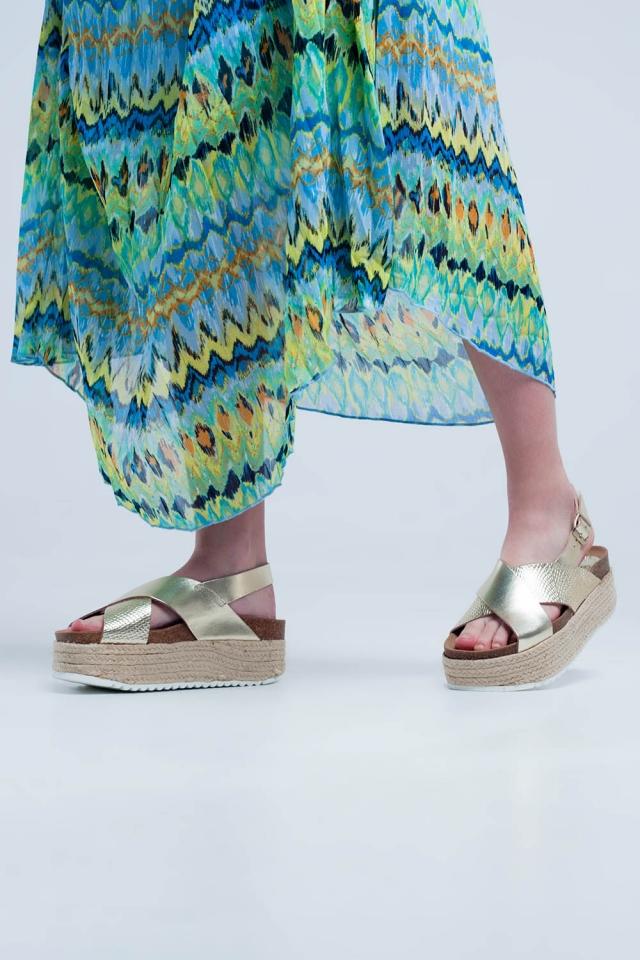 Sandali flatform stile espadrilles d´oro