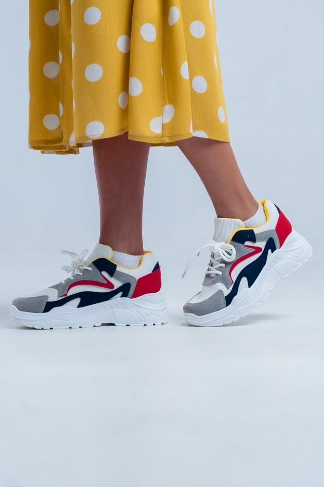 Sneakers basse bianche con plateau e più colori