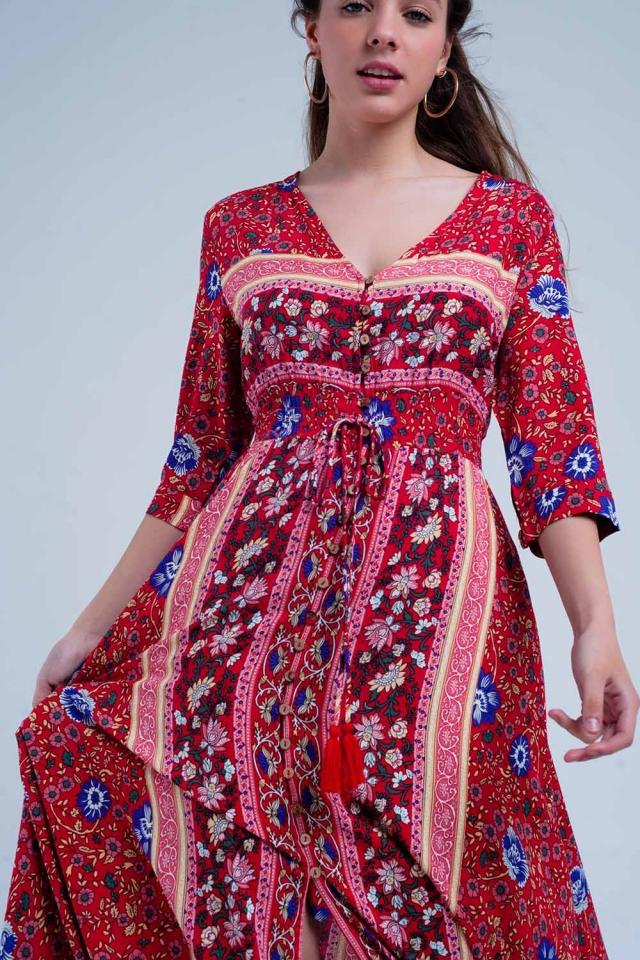 Vestito lungo a righe e stampa fiori rossa