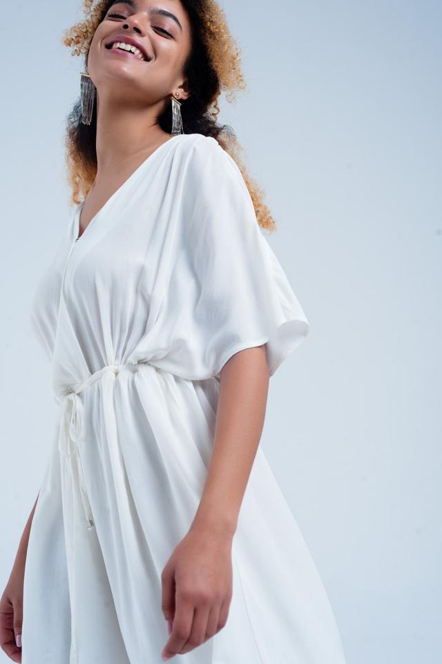 Vestito midi allacciato in vita bianco