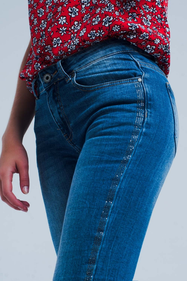 Mid wash jeans with glitter side stripe