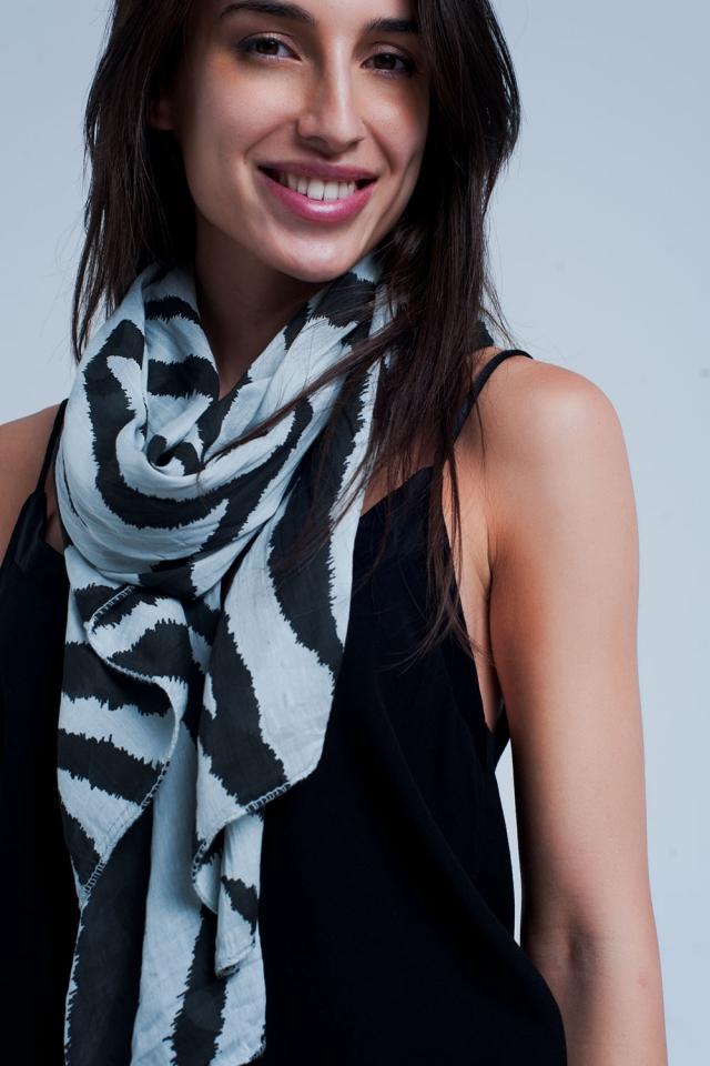 Foulard Grigio stampato zebra