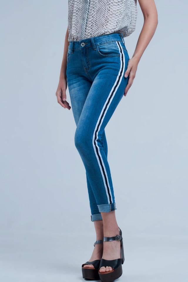 Jeans denim con riga laterale