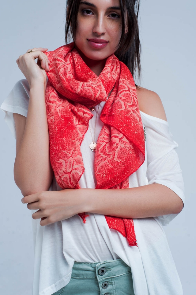 Sciarpa rosso con stampa serpenti
