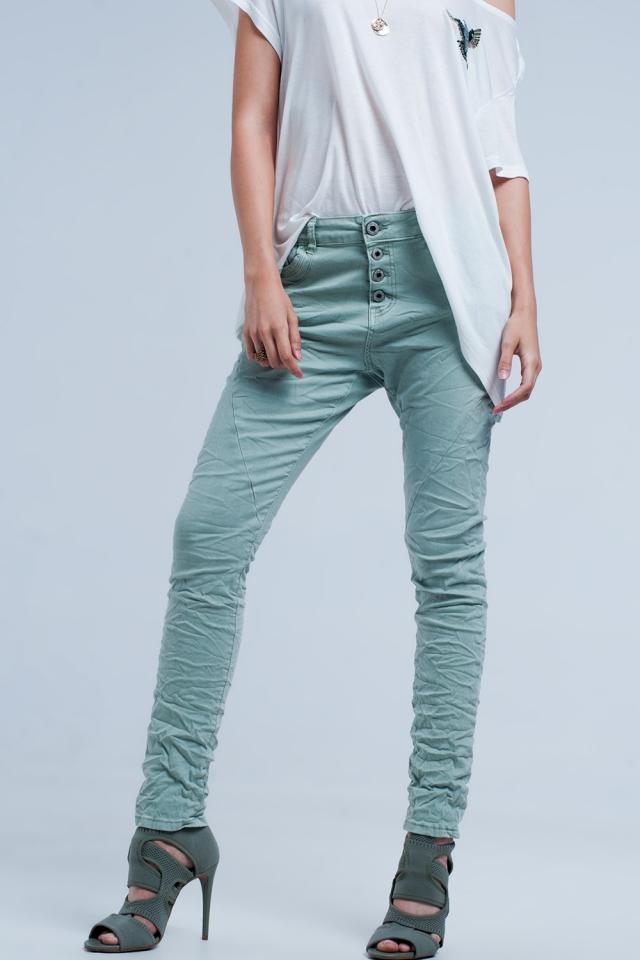 Boyfriend jeans Colore verde a vita bassa