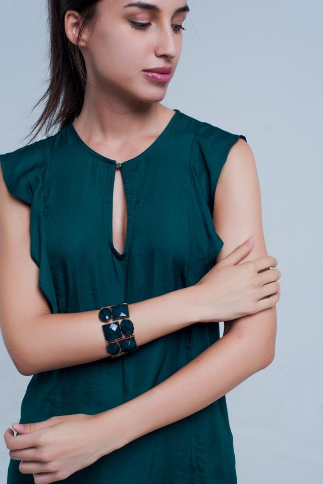 Camicia senza maniche a righe con verde scuro