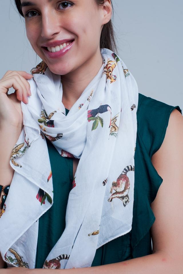 Foulard bianco stampato animale