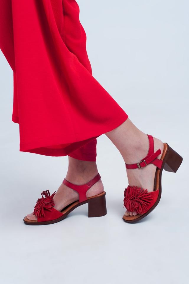 Sandali con tacco alto con Rouches in rosso