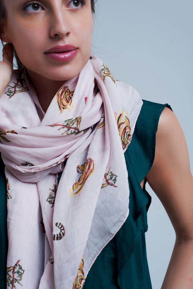 Foulard rosa stampato animale