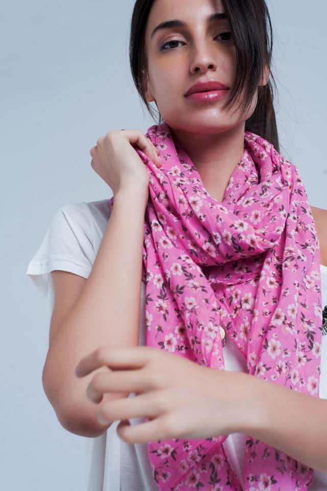 Fazzoletto rosa con stampa floreale