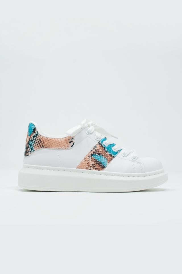 Sneakers bianche con dettaglio stampa serpente