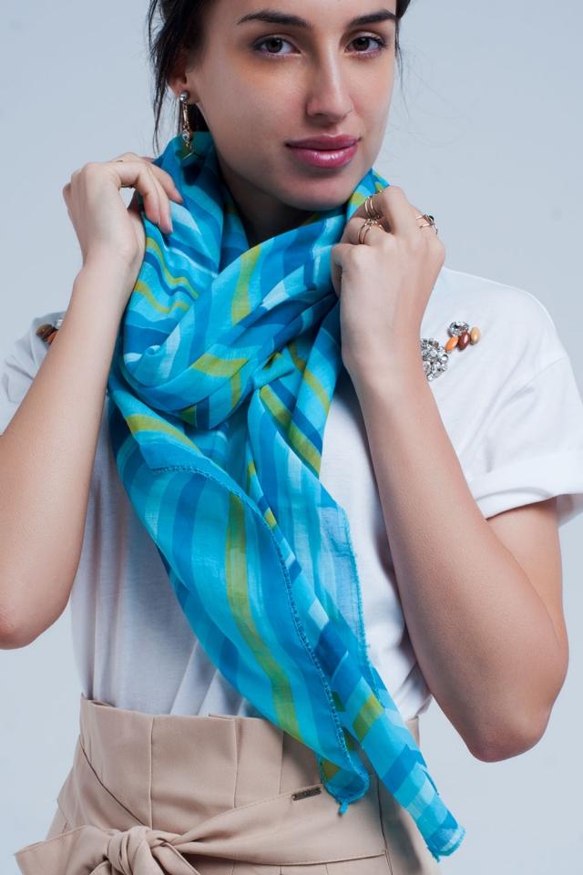 Fazzoletto turchese con strisce blu