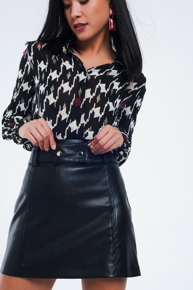 Camicia classica con stampa geometrica nera