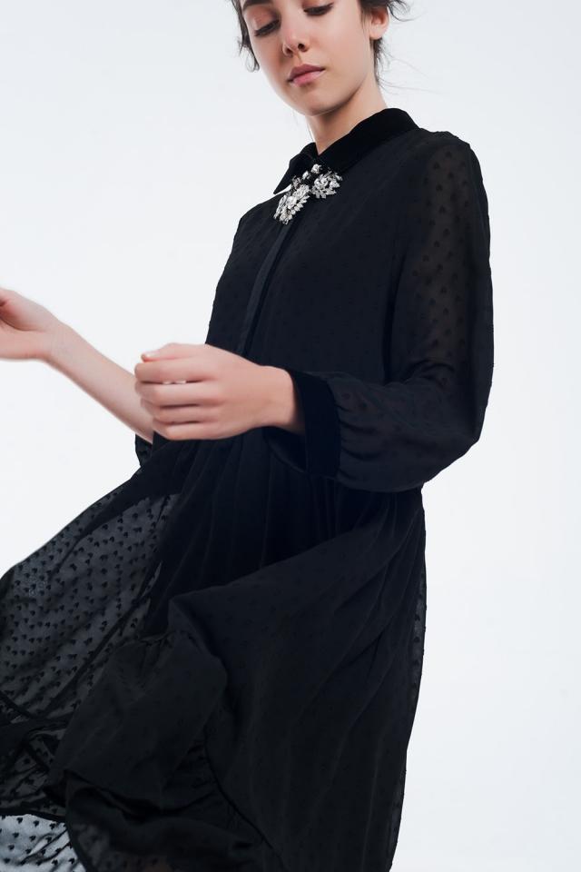 Robe noire midi bi-matière