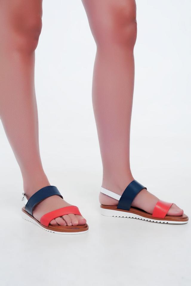 Sandali bassi in pelle rossi e blu