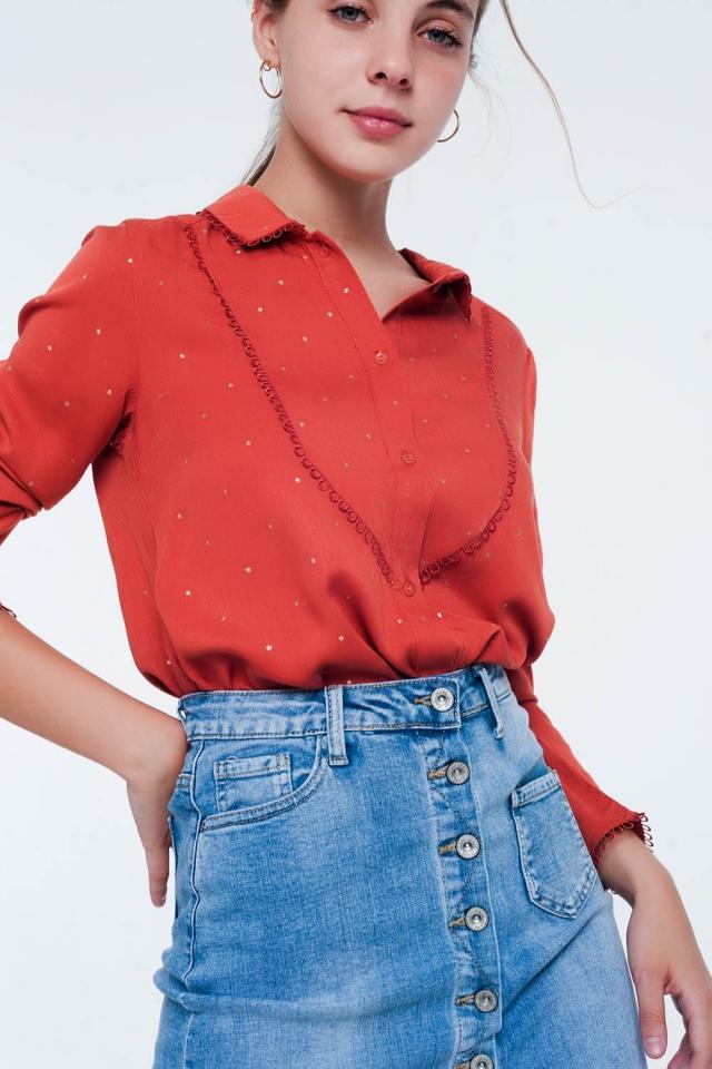 Blusa arancio da giorno a maniche lunghe con colletto