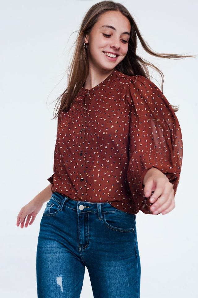 camicia trasparente con stampa marrone