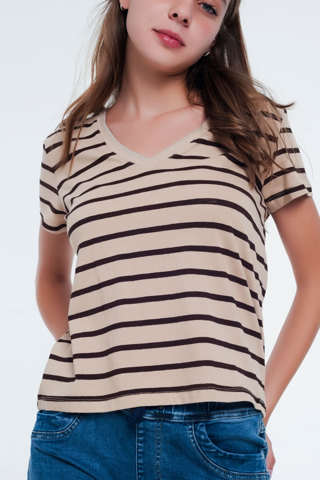 T-shirt a righe Beige con scollo a V